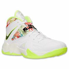 Men's Nike Zoom Soldier VII Basketball Shoes | White/Black/Volt