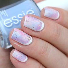 Pantone colors 2016 rose quartz and serenity pink and blue galaxy nail art