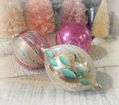 Three Vintage Christmas Ornaments / Pink and by jmhallcuriosities, $14.00