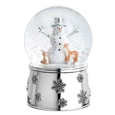 Reed and Barton Mr. Snowman and Friends Siver Musical Snowglobe ($30) ❤ liked on Polyvore featuring home, home decor, holiday decorations, snowman snowglobe, snowman home decor, snowman snow globe, snowman water globe and music themed home decor