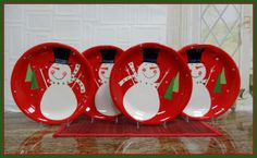 Tuscan Christmas Snowman Collection Hand Painted Ceramic Dinner Plate Set, 87211 by ACK