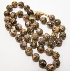 Vintage Leopard Jasper Round Bead 18.5 Inch Necklace Lapidary Polished Stone Beads Hand Knotted 615DG