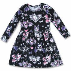 Six Bunnies Black Cute Bats Long Sleeve Kid's Dress