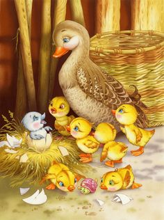 Beautiful fairy tale illustrations by Elena and Vitaly Shvarov.the ugly duckling Gif Mignon, Family Painting, Painting Art, Photocollage, Ugly Duckling, Animation, Beautiful Fairies, Vintage Easter, Children's Book Illustration