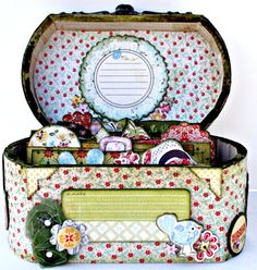 Recipe Box Kit, Designed by DT Member Charlie LaBonte. Using Basic Grey Piccadilly Collection.   Includes: Picadilly & Graphic 45 embellishments. Ribbon, bling and an old drawer pull for the front of the box. All pages and papers are pre-cut and comes with fully detailed photograph instructions.