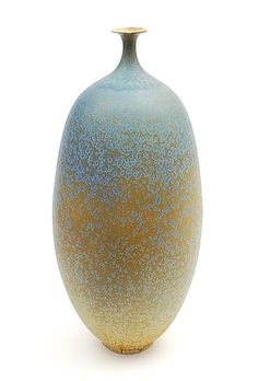Porcelain vase with green crystal-glaze design execution by Hein Severijns in own studio / the Netherlands ca.1980