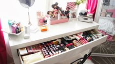 Vanity, Makeup Collection, Beauty Room, Makeup Storage, Room Decor, Girly Room, Glam Room www.BelindaSelene.com