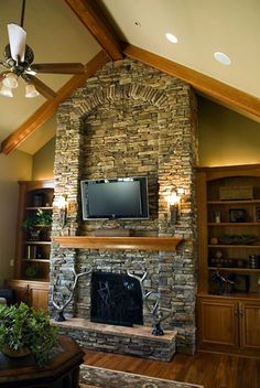 Grand stone fireplace - plan 42005 the Channing
