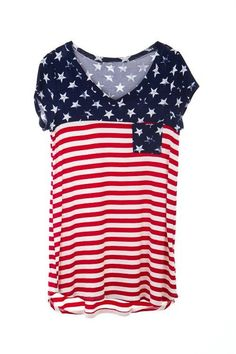 American flag t-shirt features star pocket on front 06a4a0334