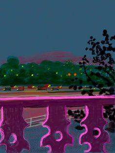 (UK) iPad digital work by David Hockney ). David Hockney Ipad, David Hockney Art, David Hockney Paintings, Colorful Paintings, Contemporary Paintings, James Rosenquist, Pop Art Movement, Ipad Art, Linocut Prints