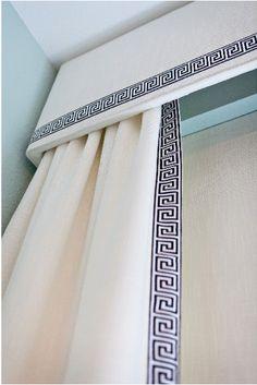 Upholstered cornice, greek key trim #Window #details #trim