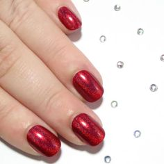 Red Holographic Petite Size Nails -  - Sarah's Sparkles Nails - 1