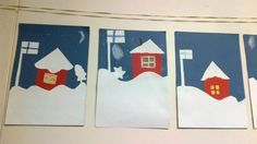 Lunta, punainen tupa ja Suomen lippu. :) Winter Art, Winter Theme, Art For Kids, Crafts For Kids, 23 December, Maui Weddings, Rose Bouquet, Independence Day, Finland