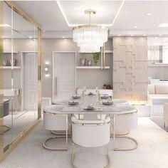 Bedroom Closet Design, Home Room Design, Home Interior Design, House Design, Open Plan Kitchen Dining Living, Elegant Dining Room, Luxury Rooms, Interior Exterior, Apartment Interior