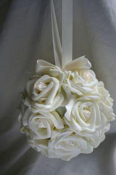 Bridesmaids Flowergirl Ivory Rose and Crystal Kissing Ball Pomander | eBay