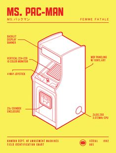 Classic Arcade Machines Illustrated in the Style of a Technical Field Guide