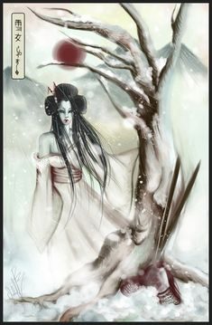 The yuki-onna (雪女, snow woman) is a snow woman ghost that despite her inhuman beauty, her eyes can strike terror into mortals that get lost traveling in the snowy mountains. She floats across the snow, leaving no footprints. There have been many stories about Yuki-onna in both written and oral form....