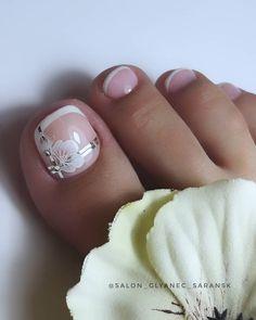 Frensh Nails, Gel Toe Nails, Feet Nails, Toe Nail Art, Pretty Toe Nails, Cute Toe Nails, Pretty Nail Art, Gorgeous Nails, French Pedicure