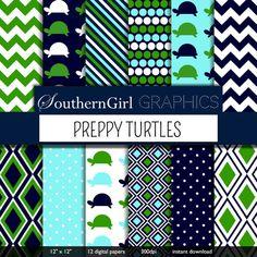 "Preppy Turtles Digital Paper: ""PREPPY TURTLES"" with green, blue, nautical, sea, turtle, chevron, pin dot, diamond, striped for cards"