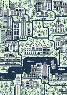 Poster Frankfurt Stadtplan von Blank Cards auf DaWanda.com