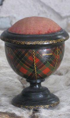 Vintage (1800s) Egg Cup Shaped McPherson Tartanware Pin Cushion