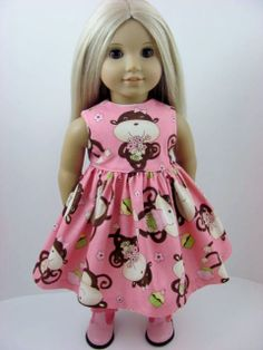 Pink Happy Monkeys Dress for the American Girl Doll by TheWhimsicalDoll2