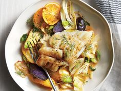 Fingerling potatoes add some satisfying heft to a light dish of fish and veggies in a clean broth. We like the color contrast the purple...