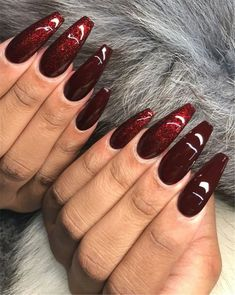 Stiletto Nails – Images – Hair, Nails, Skin – Tips, Tricks and Hacks Red Stiletto Nails, Red Acrylic Nails, Coffin Nails, Gorgeous Nails, Pretty Nails, Wine Nails, Burgundy Nails, Burgundy Color, Burgundy Wine
