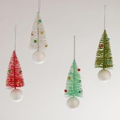 Bottlebrush Tree Ornaments, Set of 4 - how easy would it be to create and add your own touches?