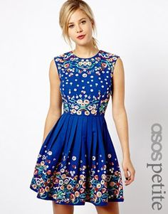 ASOS PETITE Skater Dress With Floral Embroidery
