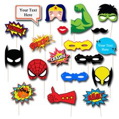 EDITABLE/PRINTABLE SUPERHERO Photobooth Props. Fill in your own text and make it custom for you!  SEE LISTING PHOTO NUMBER #2 FOR WHICH PROPS ARE EDITABLE... read below about editable files.  You can use these superhero/comic book photobooth props for many superhero party occasions:  Superhero Birthday Parties Superhero classrooms Superhero/Comic Book Weddings Superhero Baby Showers and any other Parties where theres a photo booth!  YOU WILL RECEIVE (11) 300 dpi PDF FILES for Easy…
