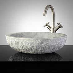 Oval Chiseled Marble Vessel Sink - Polished Cream Egyptian