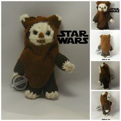 A little Ewok to my little fans of Star Wars. It measures 10 cm and have continued, with several modifications, this pattern. Un pequeño ewok para mis pequeños fans de Star Wars. Mide 10 ...