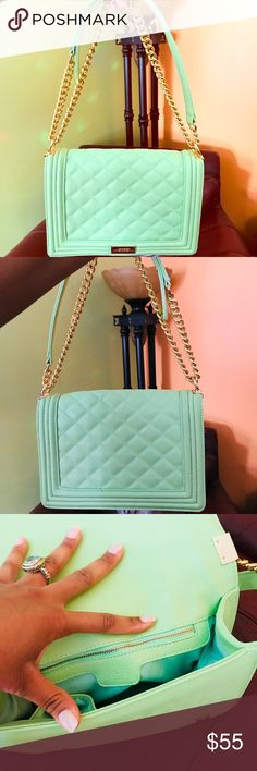 BCBG Mint Green quilted purse Beautiful quilted bag, only worn once. The bag is in pristine condition. Shows very little visible signs of wear. BCBG Bags Shoulder Bags