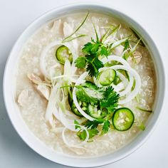Sticky rice is worth using for this porridge-y, comforting chicken soup recipe; it releases lots of creamy starches and helps builds nice body as it cooks.