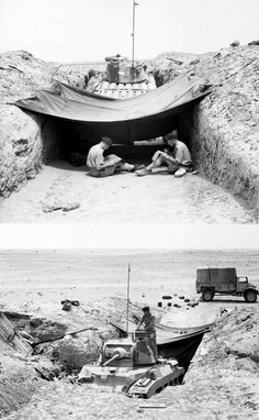 "A Matilda tank is hidden near the front in the Western Desert, 13 June This is known as a ""hull-down"" position, the Crew members relax at the rear of their Matilda tank Gin Images, Tank Warfare, North African Campaign, Afrika Korps, Military Modelling, Cool Tanks, Ww2 Tanks, Historical Pictures, British Army"