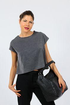 American Vintage - T-Shirts - Abbigliamento - T-Shirt corta in cotone a taglio vivo. - ARGENTE - € 45.00
