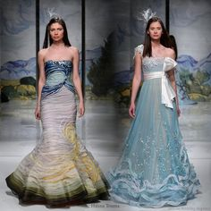 Blue Wedding Gowns | ... dresses in colors of the sea - light foam blue, sand and seaweed