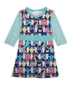 Take a look at this Sunshine Swing Black Stripe Glasses Cat Pocket Dress - Toddler & Girls today!