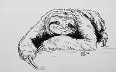 Day 23: prompt: Slow . In honour of International Sloth Day, this month. copyright 2016 Karen Carlisle. 31 Day Challenge, Carlisle, Sloth, Inktober, Prompts, Drawings, Art, Art Background, Sloth Animal