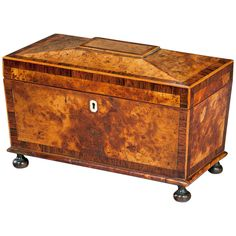 Regency Period Burr Yew Shaped Box, originally a tea caddy now fitted with divided compartments.
