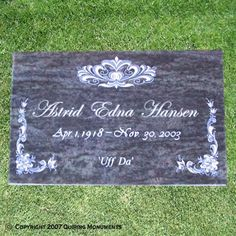 floral elegant flat grave markers - Google Search | Headstones ...