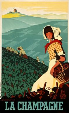La Champagne by Senechal 1938 France - Beautiful Vintage Poster Reproduction. This vertical french wine and spirits poster features a women wearing a bonnet walking through a vineyard with a basket of grapes. Giclee Advertising Print. Classic Posters