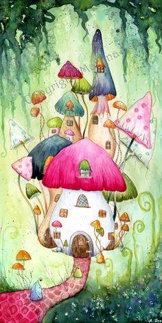 Mushroom Watercolor painting on Strathmore Illutration Board 500 Mushroom Villag. - Michelle Ozenbaugh - - Mushroom Watercolor painting on Strathmore Illutration Board 500 Mushroom Villag. Watercolor Illustration, Watercolor Paintings, Watercolour, Art Fantaisiste, Wal Art, Art Mignon, Mushroom Art, Guache, Happy Paintings