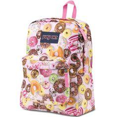 Jansport Superbreak Assorted Donuts Backpack ($36) found on Polyvore featuring bags, backpacks, pink, jansport bags, jansport rucksack, handle bag, strap bag and strap backpack