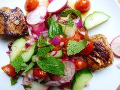 balsamic chicken with radish, cucumber, tomato and mint relish