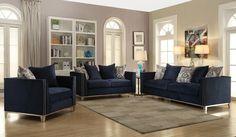 Acme 52830 31 2 Pc Everly Quinn Amaral Phaedra Blue Fabric Nail Head Trim Sofa And Love Seat Set Blue Sofas Living Room Blue Living Room Blue Living Room Sets