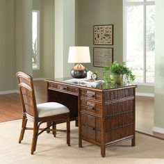 Have to have it. Hospitality Rattan Polynesian Rattan & Bamboo Desk with Glass - Antique - $624 @hayneedle