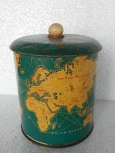 Rare Vintage Britania Biscuits World Map / Globe Litho Advertisement Tin Box
