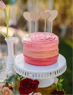 Pink ombre cake with sparkly gold heart cake toppers Pretty Cakes, Cute Cakes, Beautiful Cakes, Amazing Cakes, Diy Cake Topper, Cake Toppers, Bolo Cake, Surprise Wedding, Valentine Cake